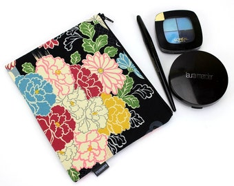 Zippered Pouch, Japanese Cotton Fabric Pouch, Cute Make up Pouch, Colorful flowers Peony Plum Blossoms Black