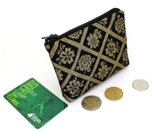coin purse, change purse, coin pouch, purse, zipper coin purse, Flowers Black and Gold