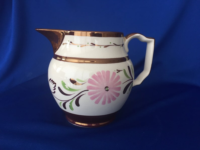 Grey's Pottery, Stoke on Trent, Lustreware pitcher, flowers (asters?)