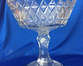 Pressed glass footed compote, American Brilliant