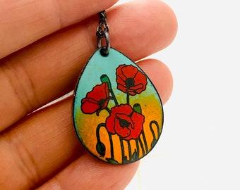 Poppy Necklace ~ Orange /& Teal Enamel Floral Print Pendant Necklace ~ Mothers Day Gift