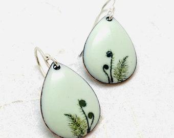 Fern Earrings ~ Green Enamel Fiddlehead Fern Print Drop Earrings