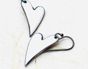 Heart Earrings ~ White Enamel Minimalist Asymmetrical Heart Drop Earrings
