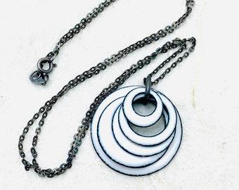 Vertigo Necklace ~ White Enamel Loops Minimalist Necklace ~ Holiday Gift Necklace ~ Christmas Gift Necklace