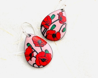 Poppy Earrings ~ Pink Enamel Floral Print Drop Earrings