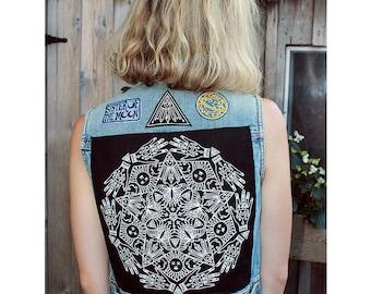 Mandala Screen-Printed Back Patch