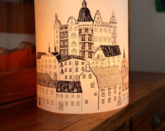 """LARGE Town Paper lantern """"Stockholm"""" Originally Hand Drawn Hand - just add candles"""