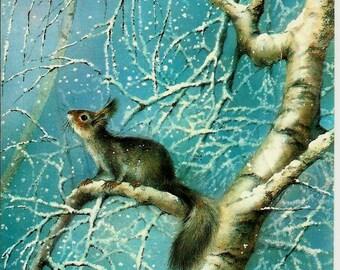 Vintage  Russian Postcard - Squirrel - Happy New Year 1988