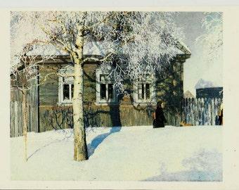 Winter in Russia, Vintage Russian Postcard, artwork Kugach unused print 1982