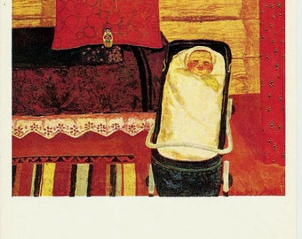 Baby-Lullaby - Vintage Russian Postcard -artist  I. Zaripov