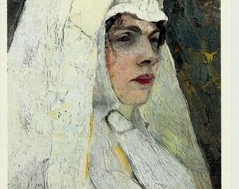 Portrait of Nun, Vintage Russian Postcard Artwork  M. Nesterov print 1982