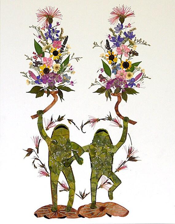 twin flames fantasy frog flower art 13 x 18 fine art etsy