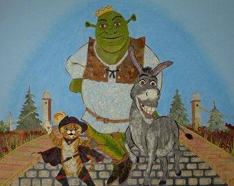 Shrek Original Fairytale Fantasy Art - Disney Characters made with REAL Pressed Flowers