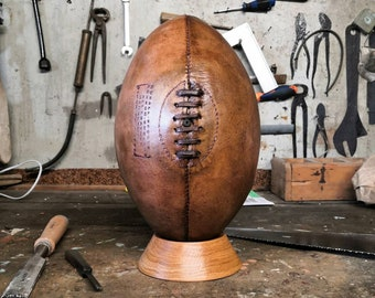 Leather rugby ball - vintage and old style - VEGETABLE & ORGANIC TAN !!