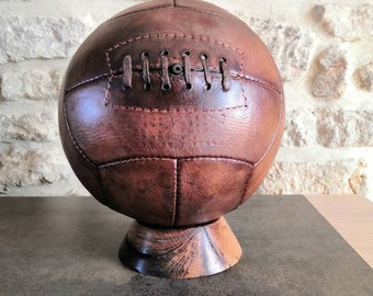Vintage soccer ball - football - antiques sporting goods - vegetable tan leather