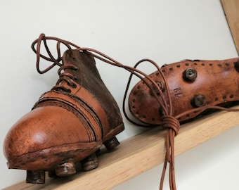 Old leather football soccer or rugby shoes boots - Handmade
