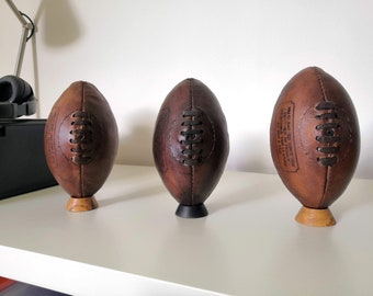 Leather rugby ball with vegetable organic tan - vintage and old decoration style by Ben and Flo