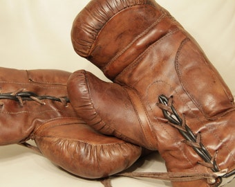 Old leather boxing gloves - organic vegetable tan  - Handmade