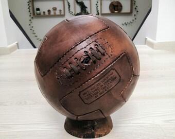 Handmade vintage Buffalo Leather football soccer ball T PANEL (ORGANIC - Vegetable Tan)
