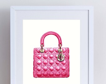 3181b31caa3f Lady Dior Bright Pink Handbag Art Watercolor Painting Chanel Fashion  Illustration Fashion Art Preppy Art Print Canvas Gift for Her Vogue Art