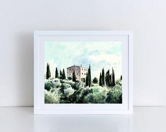 0cd5f768f6d Tuscany Art Italy Painting Italy Watercolor Tuscany Print Italian  Countryside Art Tuscany Painting Wall Decor Canvas Art Canvas Print