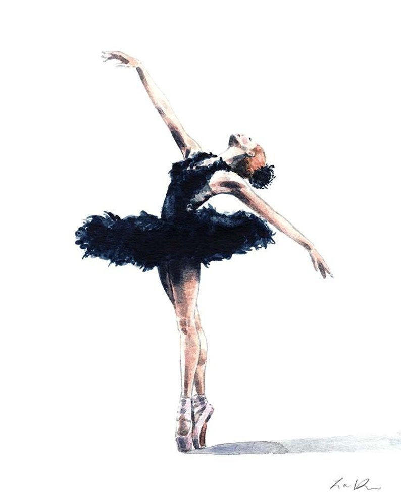 Black swan art swan lake ballerina painting ballet wall art etsy
