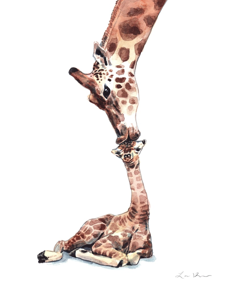 dd0593a55 Giraffe Mom and Baby Kiss Painting Giraffe Art Giraffes Print