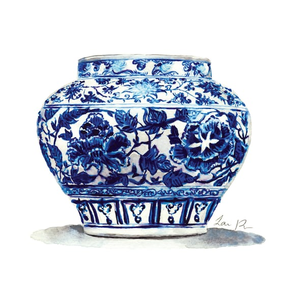 6e61c9ab506 Blue and White China Art Jar 14 Ginger Jar Print Chinoiserie