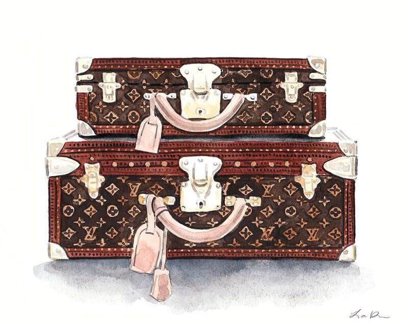 dea7ad1d792d Louis Vuitton LV Monogram Trunks Travel Art Print Watercolor | Etsy