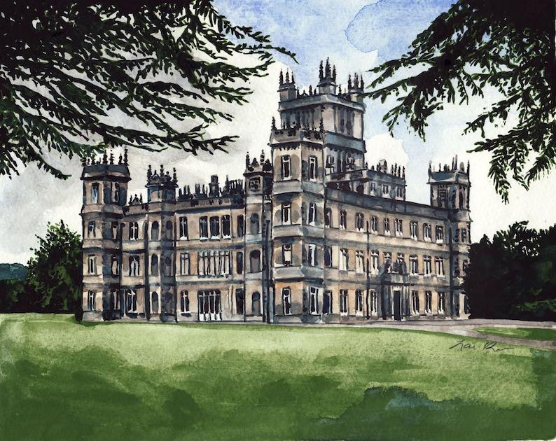 da529ad8b19 Downton Abbey Art Highclere Castle Print Downton Abbey
