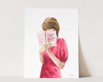 ART PRINT Modern Miss Bennet - Library Figural Fashion Illustration Jane Austen Book Lover Bookish Literature Lit Major Reader Gift