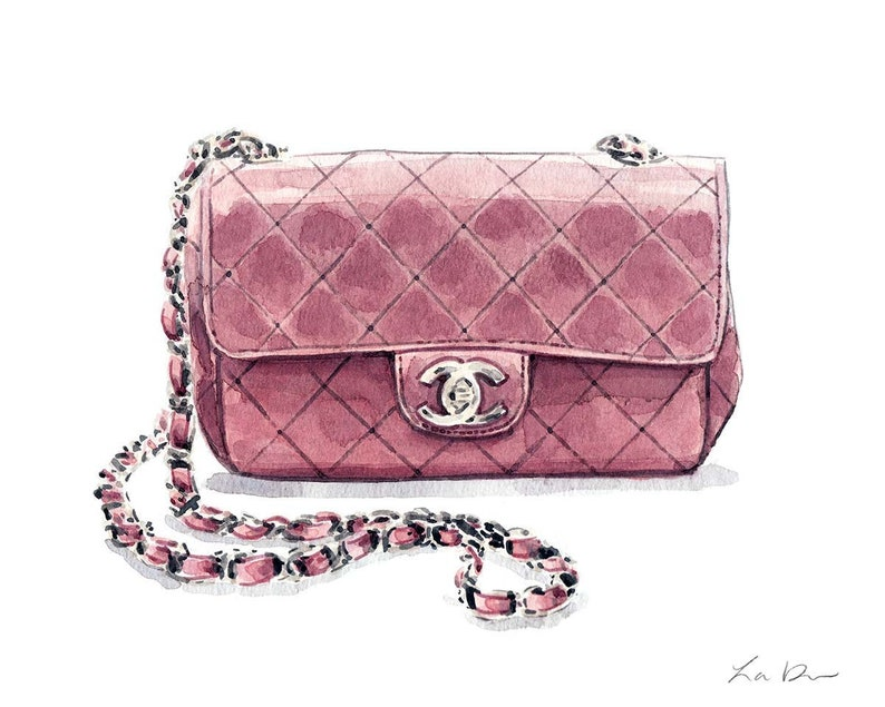 Pink Chanel Bag Print Chanel Handbag Art Watercolor Fashion  3ba54888dae0c