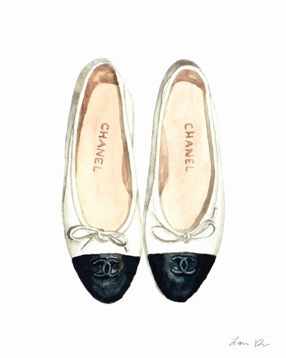 Chanel Ballet Flats Art Chanel chaussures chaussures Chanel   Etsy 114db082786