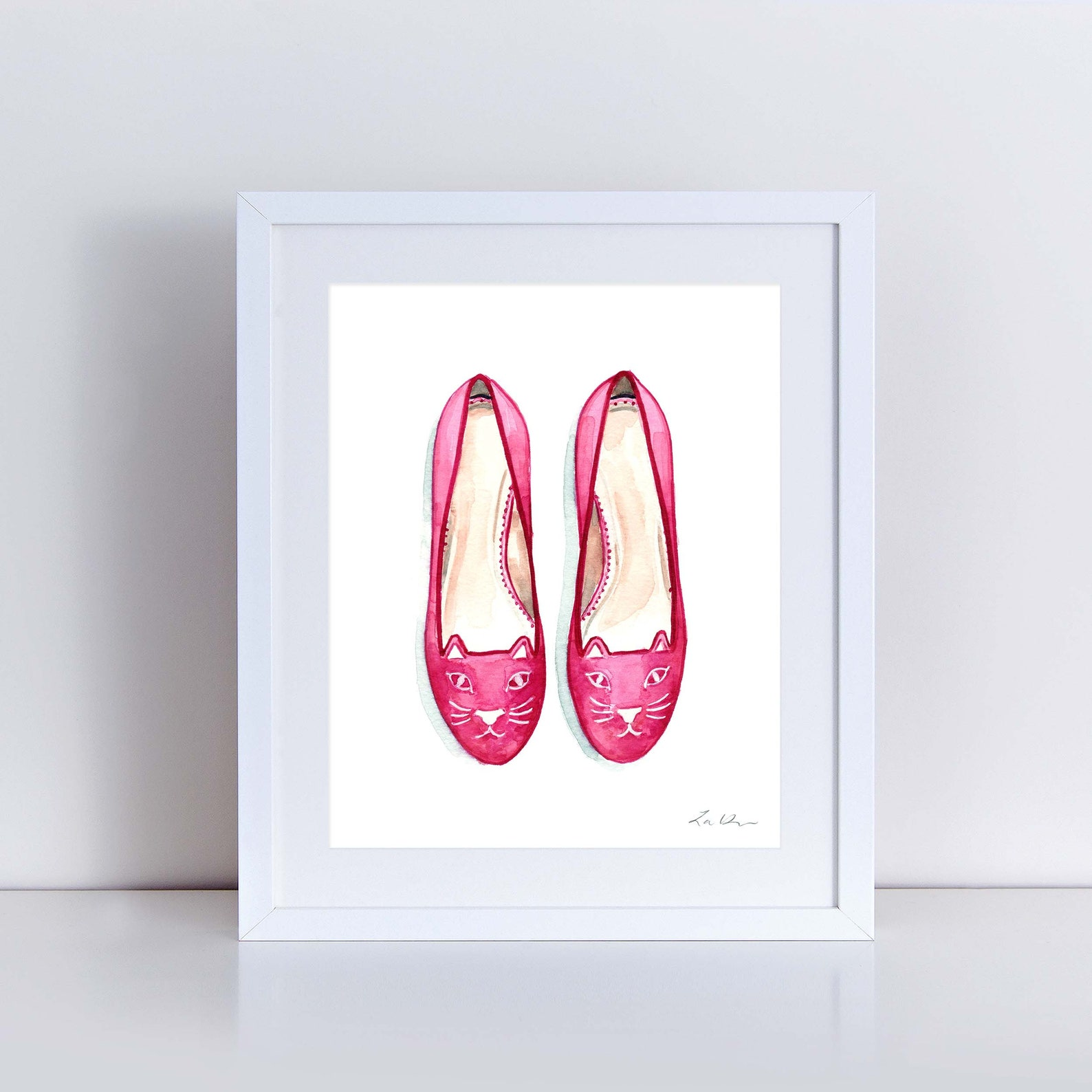 pink kitty cat ballet flats watercolor painting wall decor fashion illustration vogue ballerina shoes gift for her pretty preppy