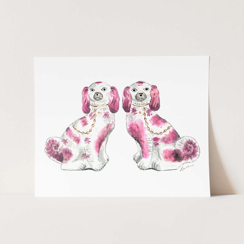 Pink Staffordshire Dogs Art Spaniel Art Print Porcelain image 0