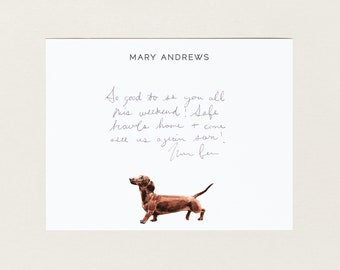 Personalized Stationery - Dachshund Dog - Stationery Suite - Blank Note Cards - Custom Gift - Cute Stationery Set - Dog Lover Gift