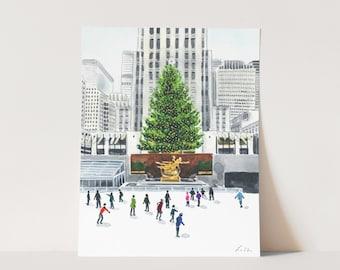 ART PRINT Rockefeller Center Ice Skating Watercolor Painting Wall Decor New York City Christmas Tree Winter Skating Rink NYC Manhattan