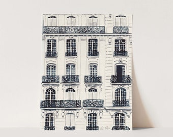 Paris Apartments Balcony Art Print Watercolor Painting Wall Decor Travel French Style Architecture Black and White Gift for Her Canvas