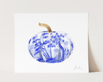 ART PRINT Blue and White Chinoiserie Pumpkin - Fall Autumn Thanksgiving Harvest Home Wall Decor Southern Chic Watercolor Gift for Her
