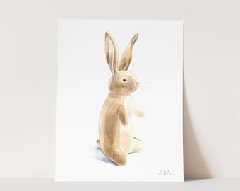 ART PRINT The Velveteen Rabbit - Old Fashioned Storybook Literature Nursery Decor Stuffed Animal Watercolor Gender Neutral Baby Shower Gift