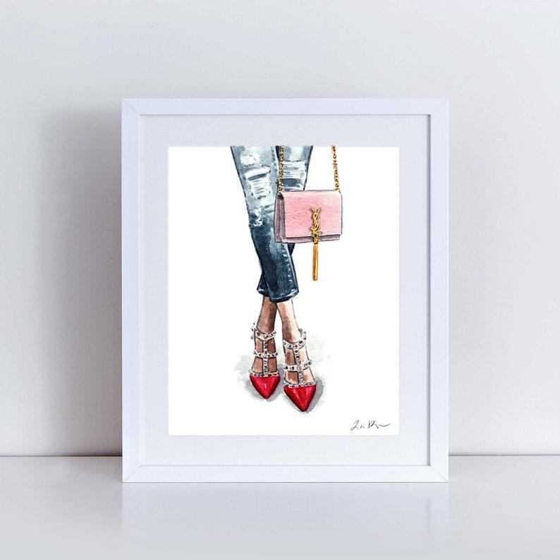 fc2e3e0690941e Fashion Art Print Watercolor Painting Wall Decor Valentino | Etsy