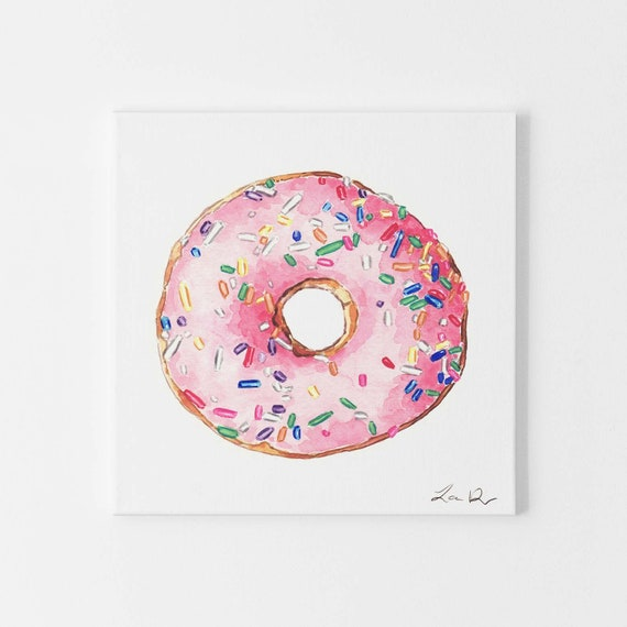 Donut Art Painting Pink Print of Watercolor Pink Sprinkles Doughnut Rainbow  Brunch Gift for Her Donut Bar Donut Sign Wedding Donut