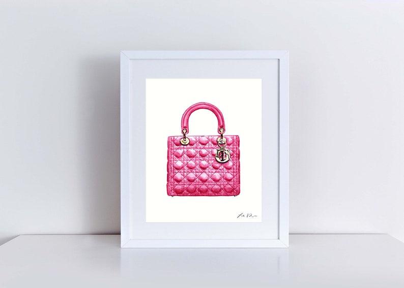 ec5f683ba61771 Lady Dior Bright Pink Handbag Art Watercolor Painting Chanel   Etsy