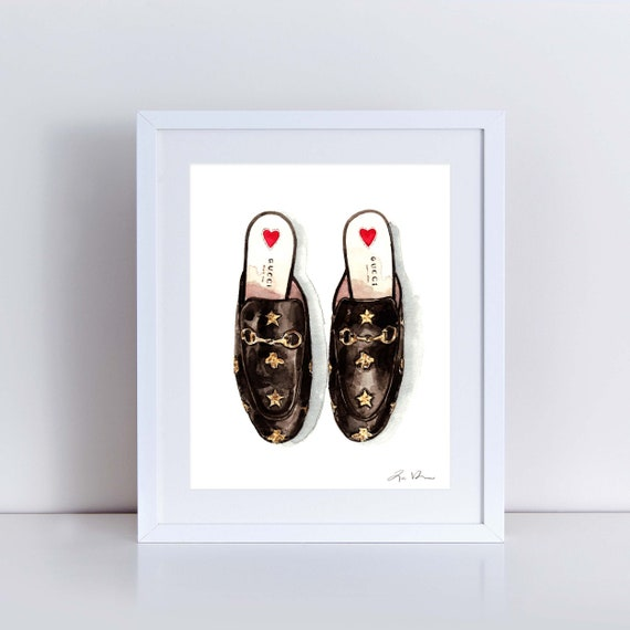 061e54932 Gucci Princetown Shoes Art Print Watercolor Painting Wall | Etsy