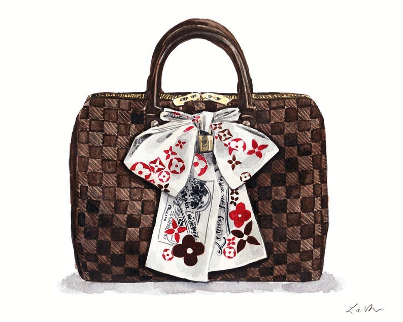 Louis Vuitton Damier Ebene Speedy 2 LV Handbag Art Watercolor  3a562486fdcde