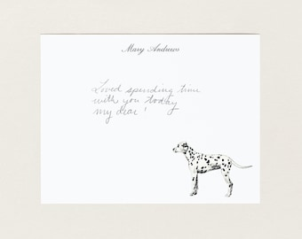 Personalized Stationery - Dalmatian Dog - Stationery Suite - Blank Note Cards - Custom Gift - Cute Stationery Set - Dog Lover Gift