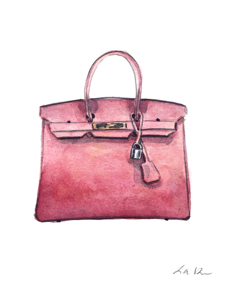 cc64d177c25f3 Hermes Birkin Bag Kunstdruck Aquarell Wand Dekor Fashion