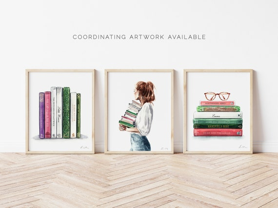 Art Print Library Girl Figural Book Etsy