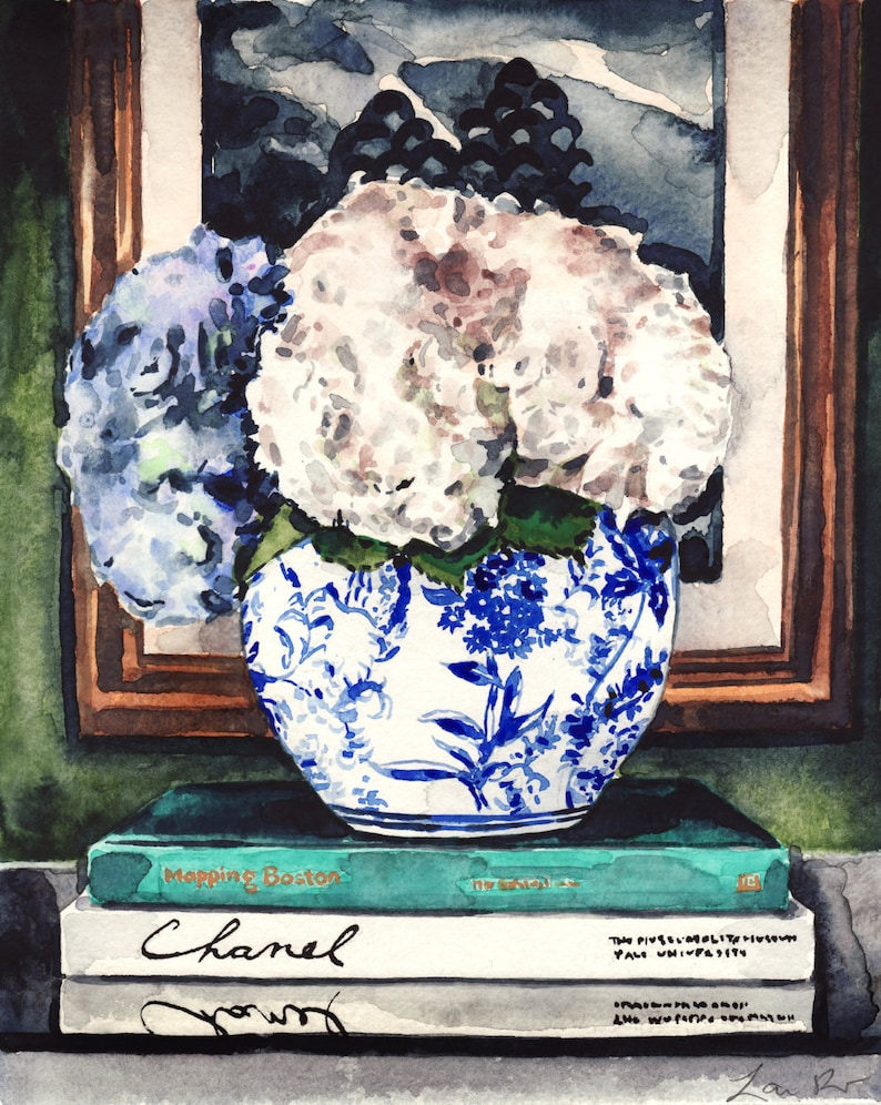c74d44da92d Blue and White Hydrangeas Ginger Jar Art Print Watercolor
