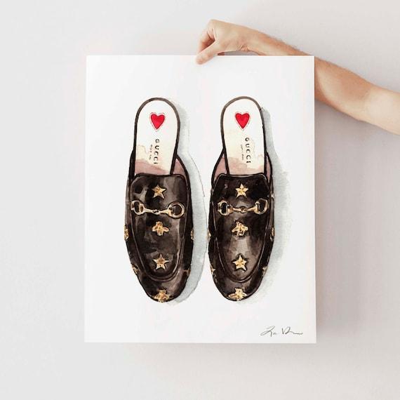 ART PRINT Gucci Princetown Shoes